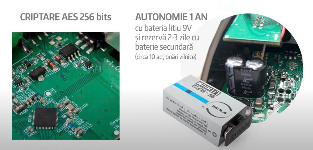 Încuietoare inteligentă invizibilă • Int-Lock • baterie principală cu litiu • criptare de top AES 256 bits